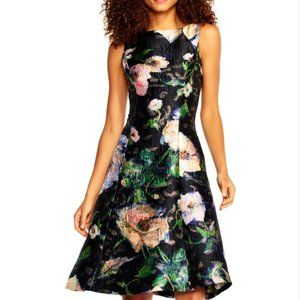 Adrianna Papell Textured Floral Cocktail Dress